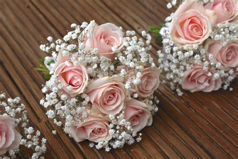 Wedding Flower Pictures Pink by Vintage Pale Pink Roses Bridesmaid Flowers Babies Breath