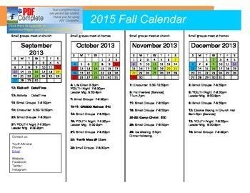youth ministry calendar template 2015 fall youth ministry calendar september december