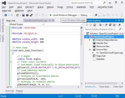 tutorial opengl linux building and debugging opengl on linux with visual studio