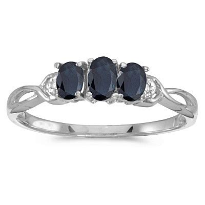 Blue Sapphire 4 65ct oval blue sapphire three ring 14k white