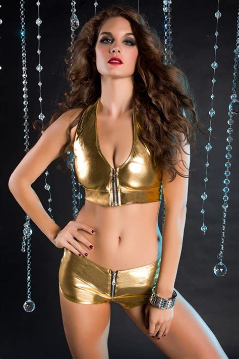 New Style Bra Bag Metalic Dengan Kancing gold metallic foil zipper front bra top