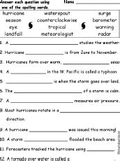 hurricane worksheet answers weather spelling word questions enchantedlearning