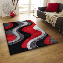 Shaggy Collection Rugs Indoor Red Grey Black Hand Tufted Area Rug Luxurious Hand