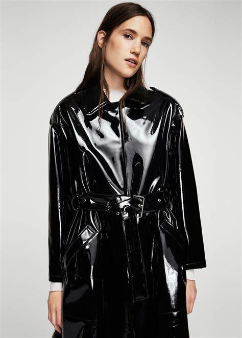 pvc vinyl trench coats belt vinyl trench women trench raincoat and latex