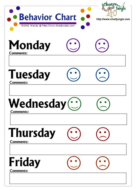printable behavior charts bing images for the kids
