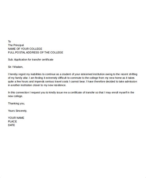 college tc application letter format college application letter templates 9 free word pdf