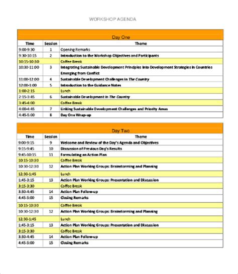workshop agenda template 10 free word excel pdf