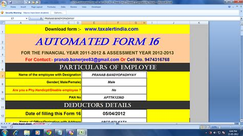 excel format of form 16 for ay 2015 16 income tax calculator ay 15 16 in excel format simple in