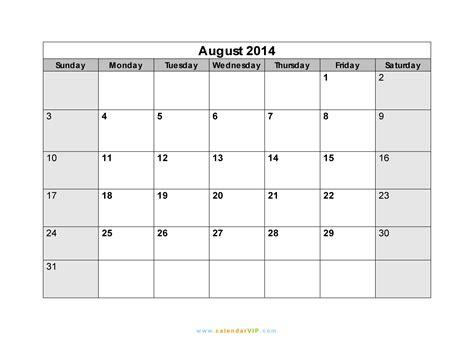 August Calendar 2014 August 2014 Calendar Blank Printable Calendar Template