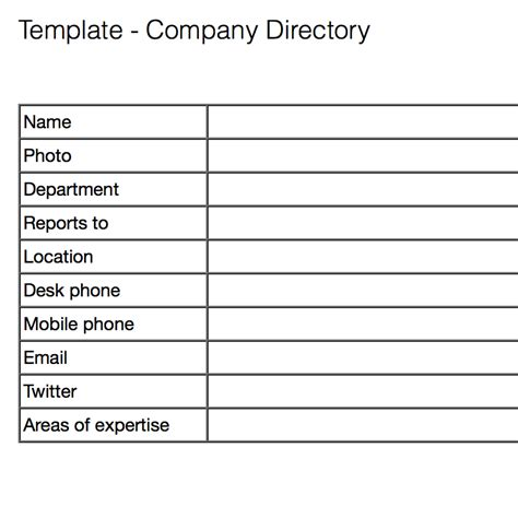 Company Email Address Lookup Information Template Contact Info Template Employee Data