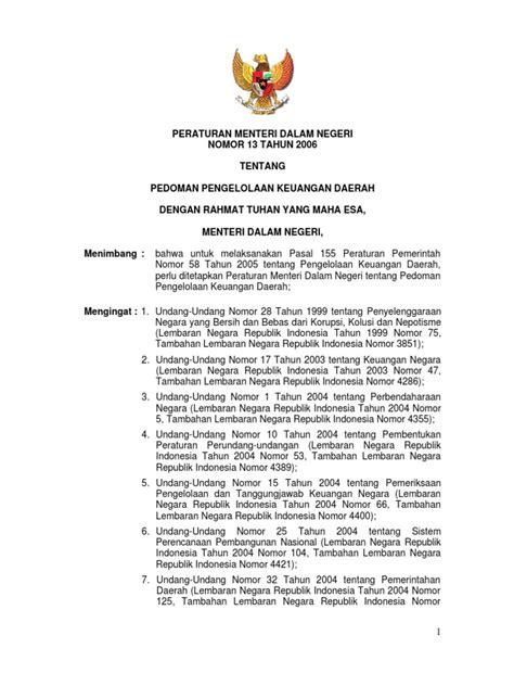 Pengelolaan Keuangan Daerah Pramono Hariadi permendagri 2006 no 13 pedoman pengelolaan keuangan daerah
