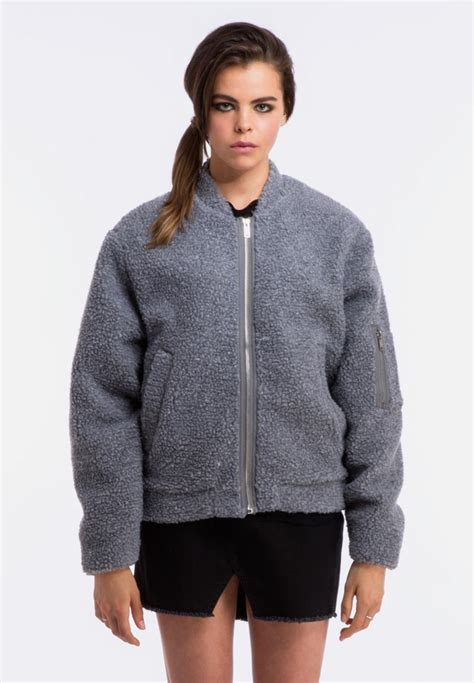 Promo Jaket Original Lazaura Grey teddy bomber jacket grey cheap monday jackets superbalist