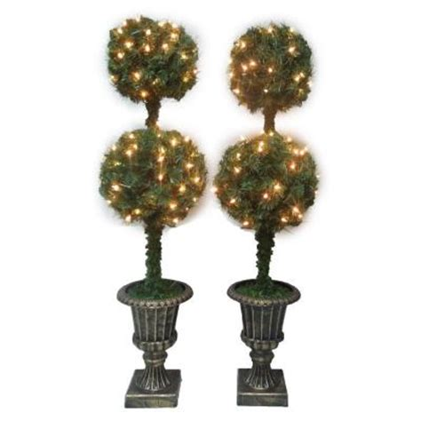 battery lit artficial topiaries 4 ft artificial topiary entryway tree set of 2 b 134047b the home depot