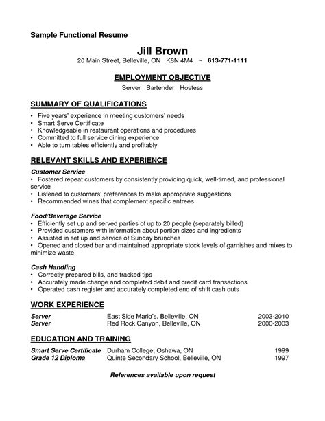 Sle Resume Of Bartender Server Bartender Resume Sle Resume No Experience Sales No Experience Lewesmr 100 Resume Template For