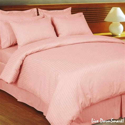 pink twin bed set blush pink stripe twin xl duvet cover set 100 cotton 300