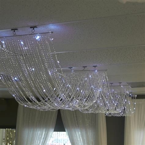 15ft. Crystal Ceiling Draping Panel w/ LED Lights   Pure White