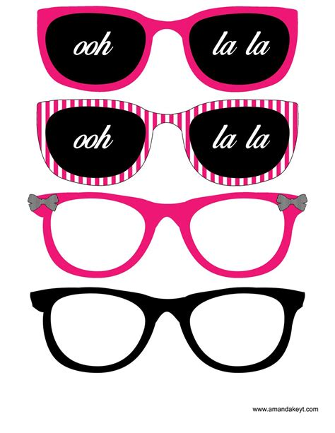 printable photo booth props paris glasses from paris hot pink printable photo booth prop set