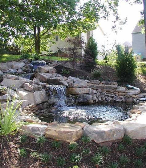 backyard pond ideas with waterfall small waterfall pond landscaping for backyard decor ideas