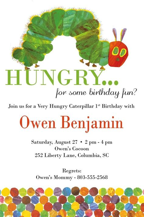 The Very Hungry Caterpillar Birthday Invitations Party Ideas For Kids Pinterest Hungry Hungry Caterpillar Birthday Invitation Template