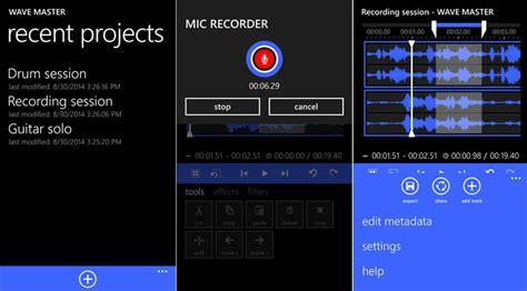 format audio windows phone wave master is a new professional audio editor app for