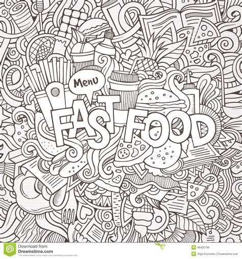free vector doodle background fast food lettering and doodles elements stock vector
