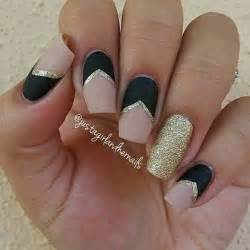 gallery for gt black matte and gold nail designs