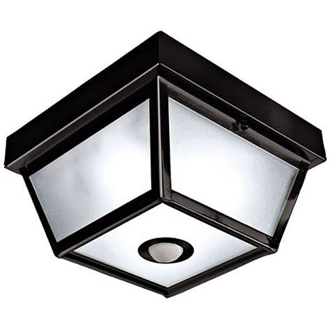 Outdoor Ceiling Light Motion Sensor Benson Black 9 1 2 Quot Wide Motion Sensor Outdoor Ceiling Light H7013 Ls Plus