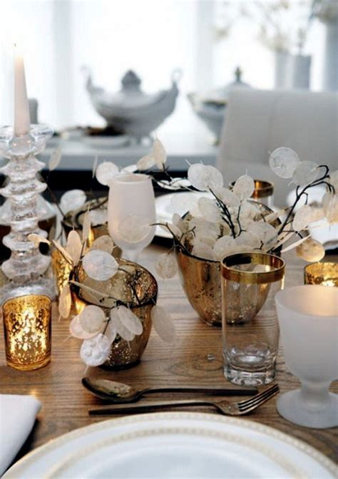 christmas table  gold  silver  ideas glamor