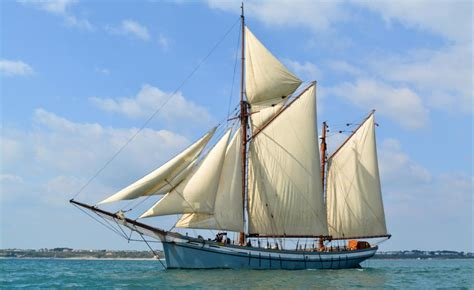 boat kept on a larger ship irene west country trading ketch classic sailing