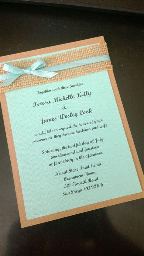 Tiffiny Blue Wedding Invitation Paper by Blue Kraft Brown And Burlap Wedding Invitation