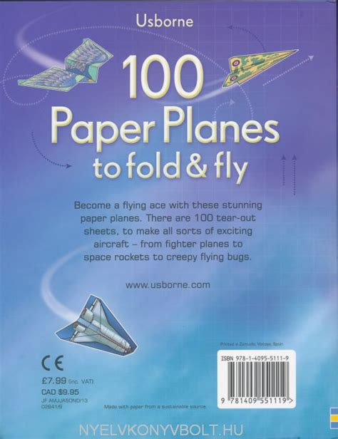 Fold And Fly Paper Planes Book - 100 paper planes to fold and fly nyelvk 246 nyv forgalmaz 225 s