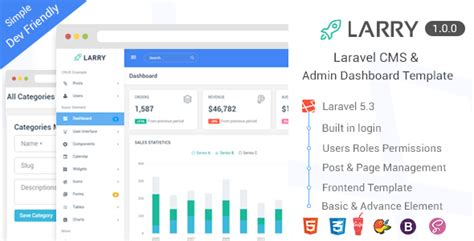 Larry Laravel Cms Admin Dashboard Template Nulled Download Laravel Dashboard Template