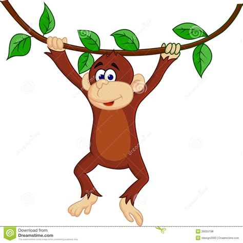 cartoon monkey swinging on a vine swinging monkey free clipart