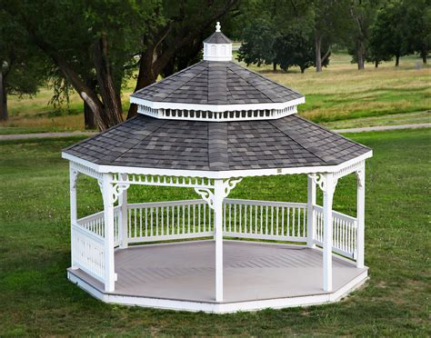 customers photo  white vinyl double roof octagon gazebo