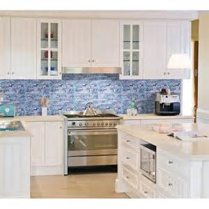 Mosaic Tile Kitchen Backsplash Grey Marble Stone Blue Glass Mosaic Tiles Backsplash