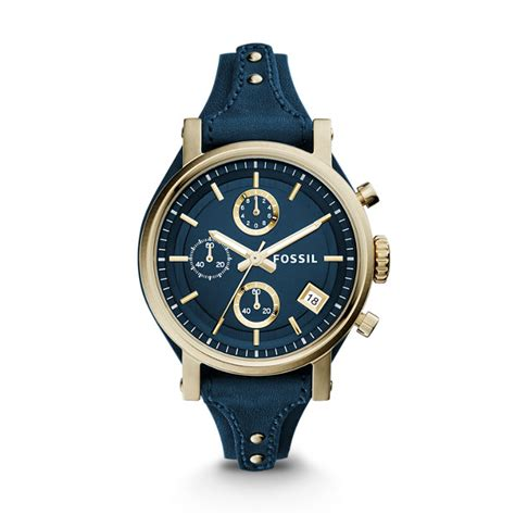 Fossil Fs0103 Navy Blue original boyfriend chronograph midnight blue leather fossil