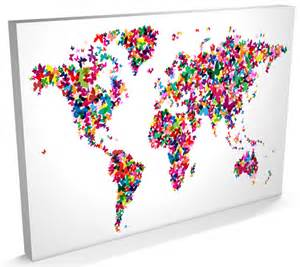 Canvas World Map by Butterfly Map Of The World Map Of Butterflies Canvas A3