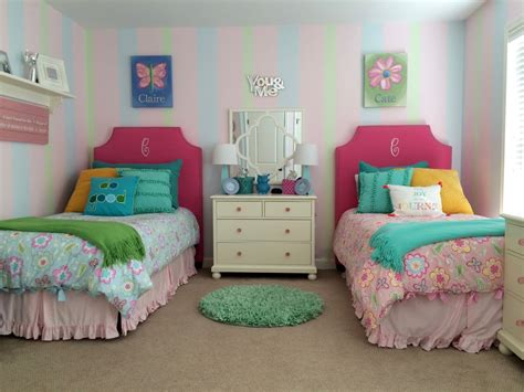 twin girls bedroom sherbet sweet twin girls bedroom makeover painted stripes