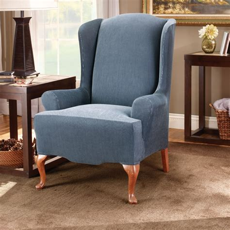 chair back slipcovers blue fabric back wing chair with arm rest combined with