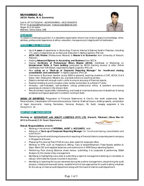 Resume Templates For Gulf Muhammad Ali Finance Professional Gulf Resume 2
