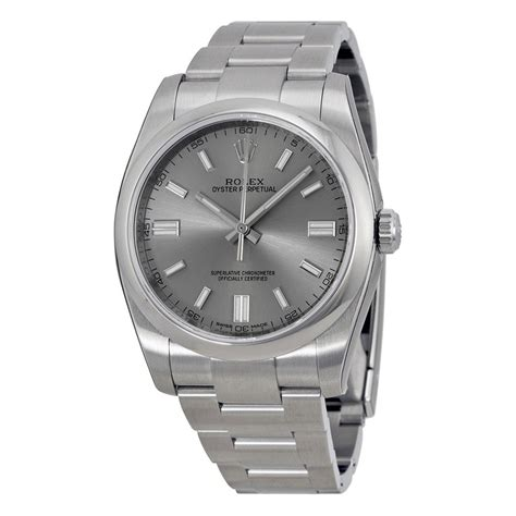 36 stainless steel rolex oyster perpetual 36 mm rhodium dial stainless steel