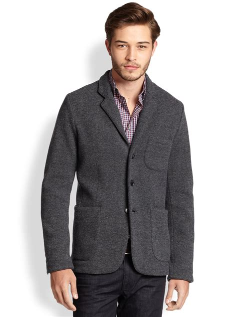 grey knit blazer vince wool knit blazer in gray for lyst