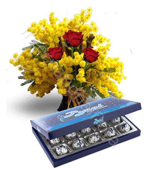 offerte fiori tre rosse con mimosa e baci perugina