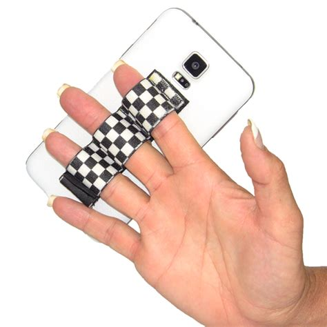 Phone Grip 3 loop phone grip black and white checkers lazy