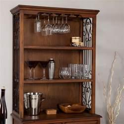 oak wood finish bakers rack server with wine storage