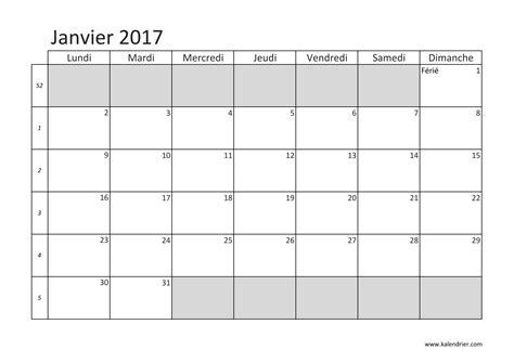 Janvier Calendrier 2017 Imprimer Calendrier 2017 Gratuitement Pdf Xls Et Jpg