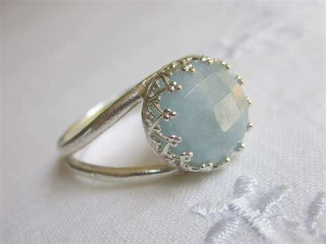 aquamarine ring sterling silver ring 10 mm vintage