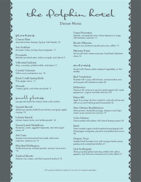5 star hotel menu hotel menu