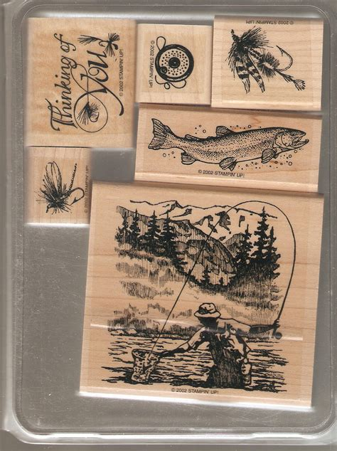 rubber st sets for card stin up fly fishing wood mounted rubber st set