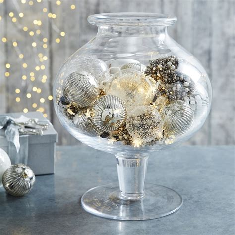 christmas decorations in glass vase christmas decore